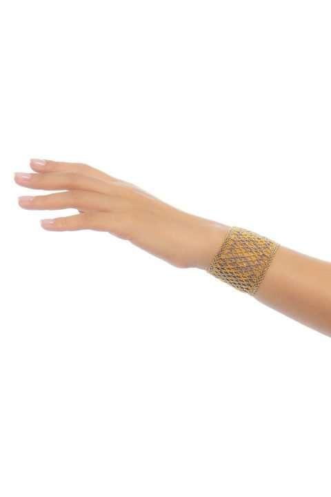 001 brazalete tejido abierto oro platino alt1