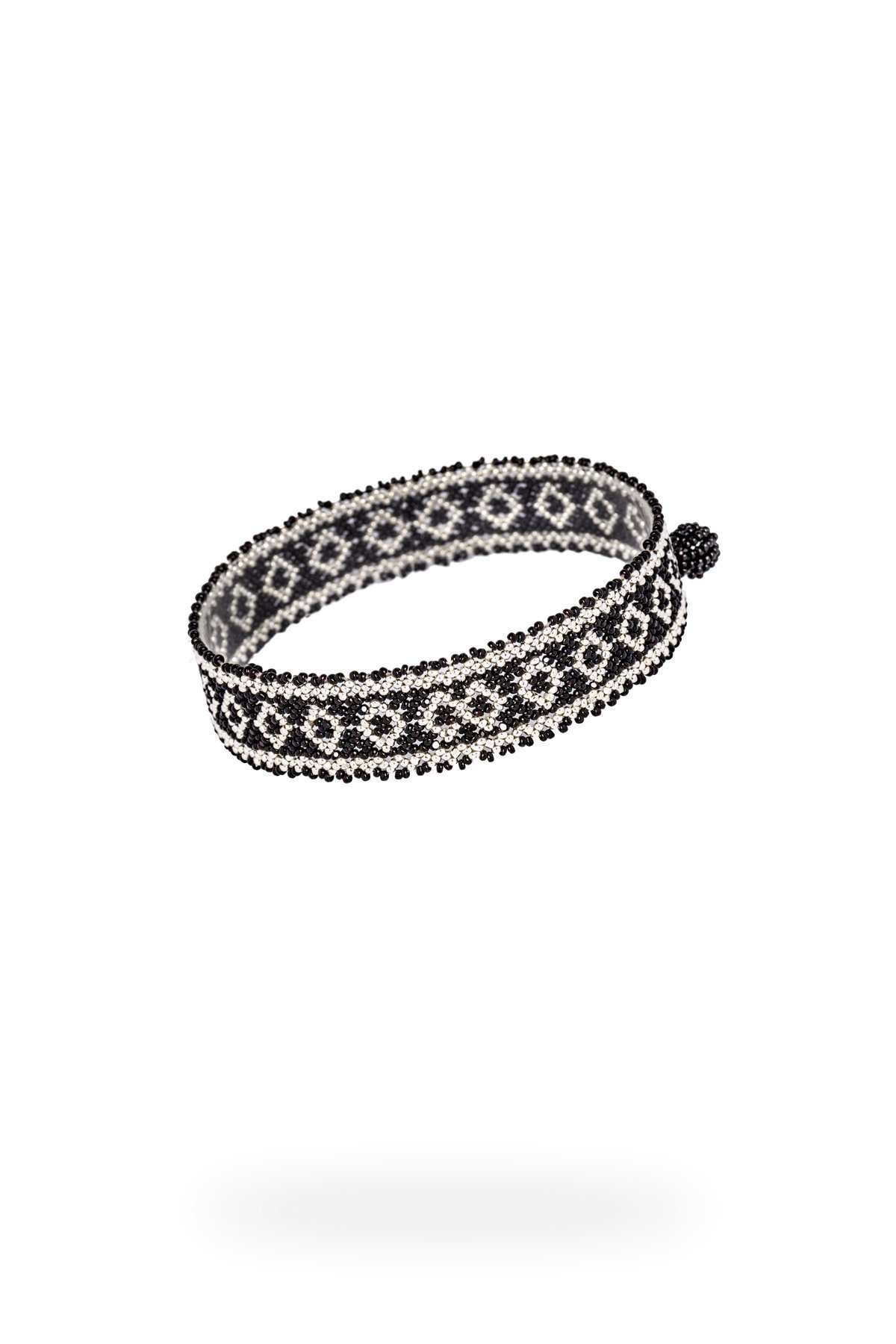 001 mini brazaletes plata negro