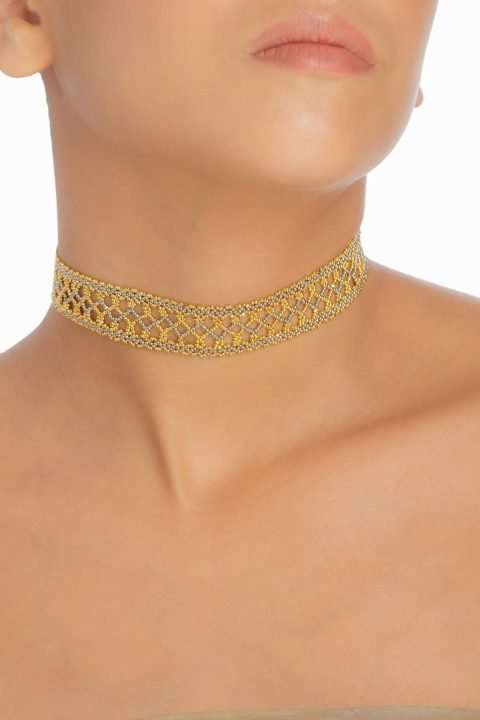 002 gargantilla tejido abierto oro platino alt1