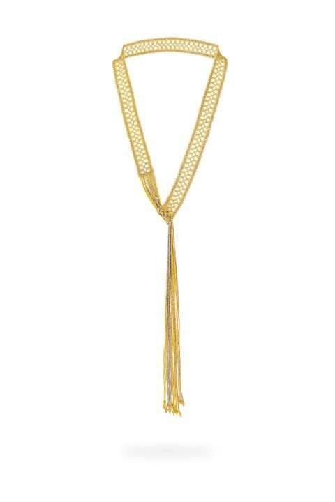 003 collar tejido abierto oro platino
