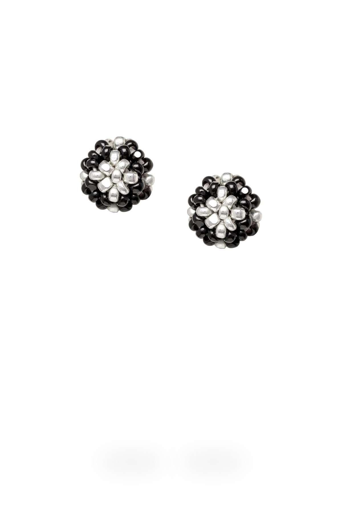 004 aretes kuu ichipe plata cristal negro