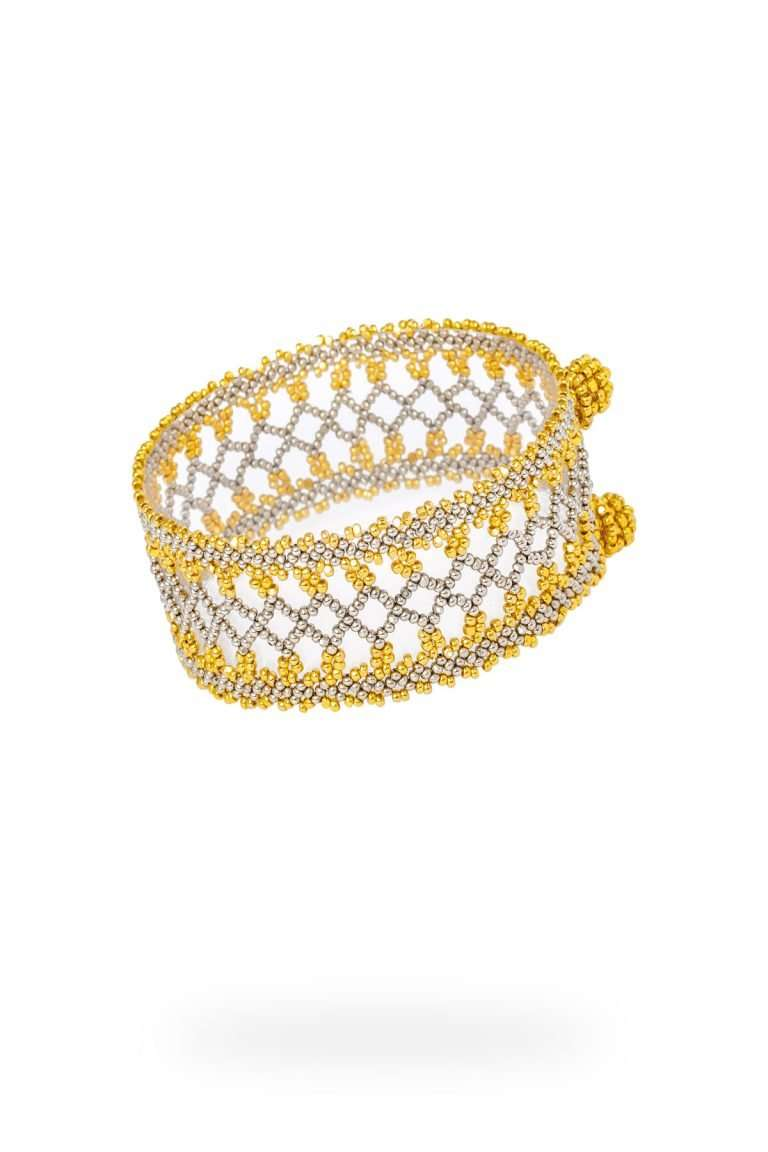 011 brazalete mediano tejido abierto oro platino