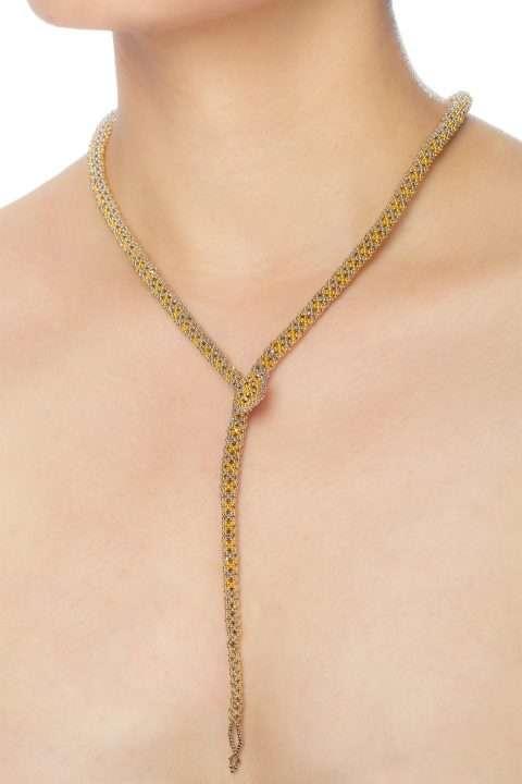 SER002 collar serpiente oro platino alt1