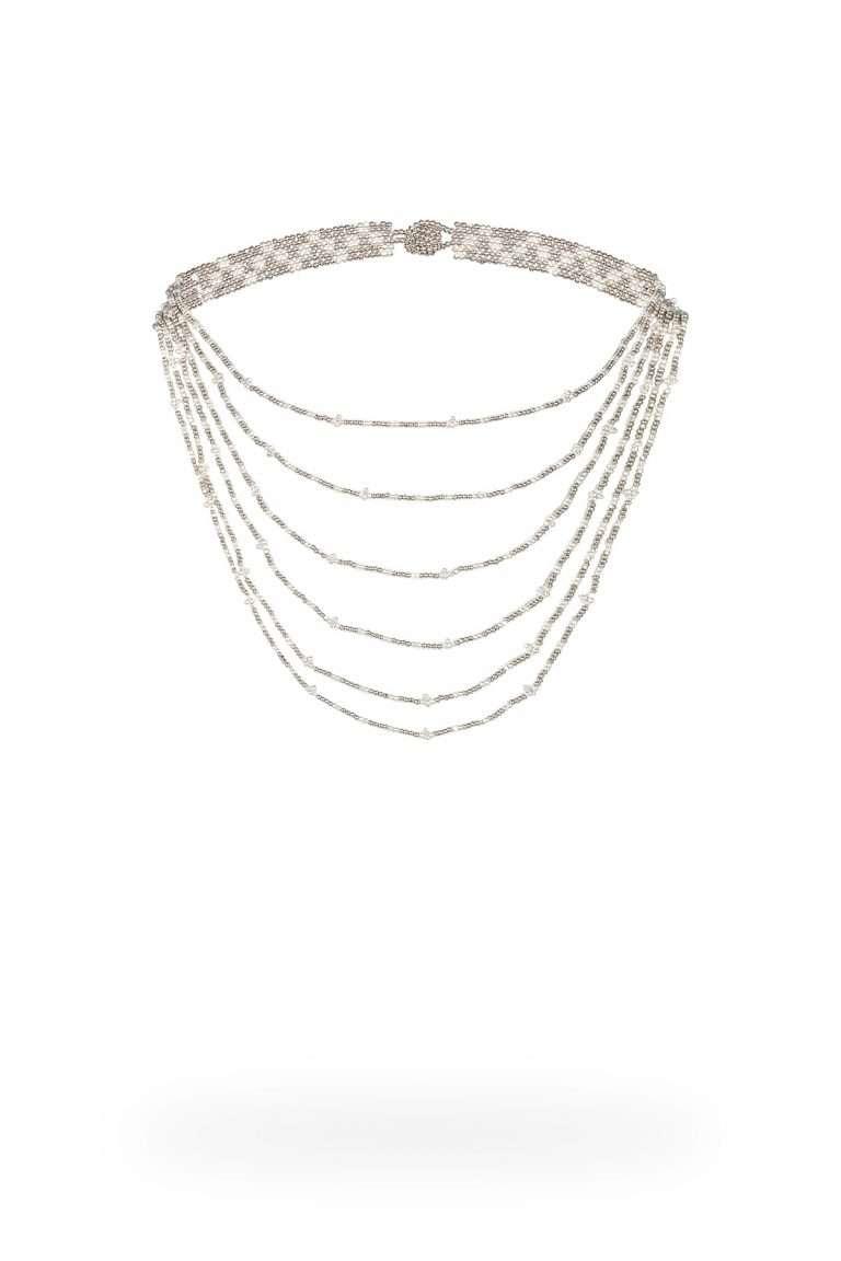 TLG002 gargantillas lineal plata platino