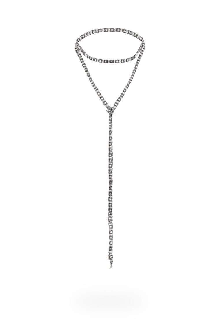 TLK008 cintilla lineal plata cristal gris